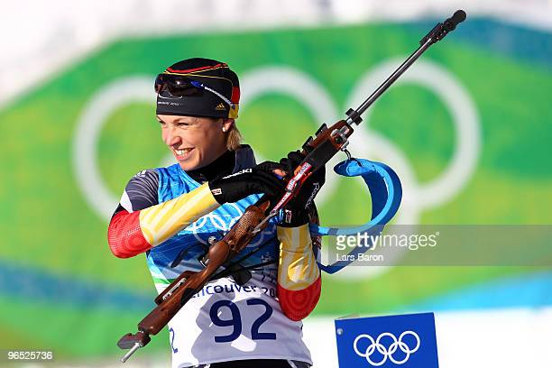 Magdalena Neuner participates in the women's biathlon practice held at Whistler Olympic Park ahead of the Vancouver 2010 Winter Olympics on February...