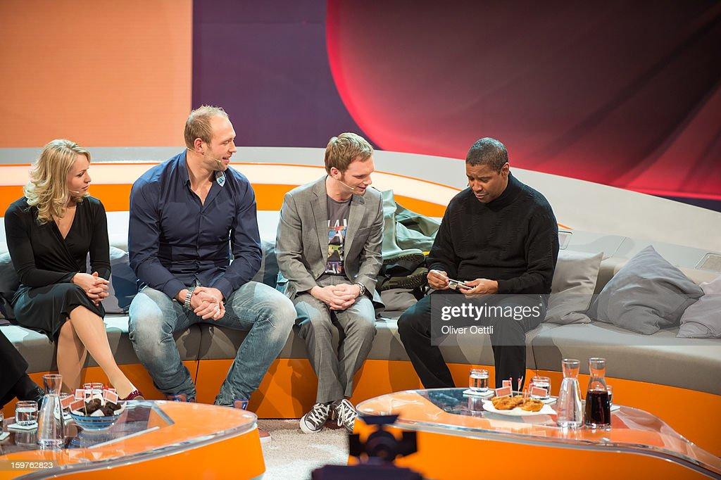 Magdalena Neuner, Robert Harting, Ralf Schmitz and Denzel Washington attend the 'Wetten dass..?' show on January 19, 2013 in Offenburg, Germany.