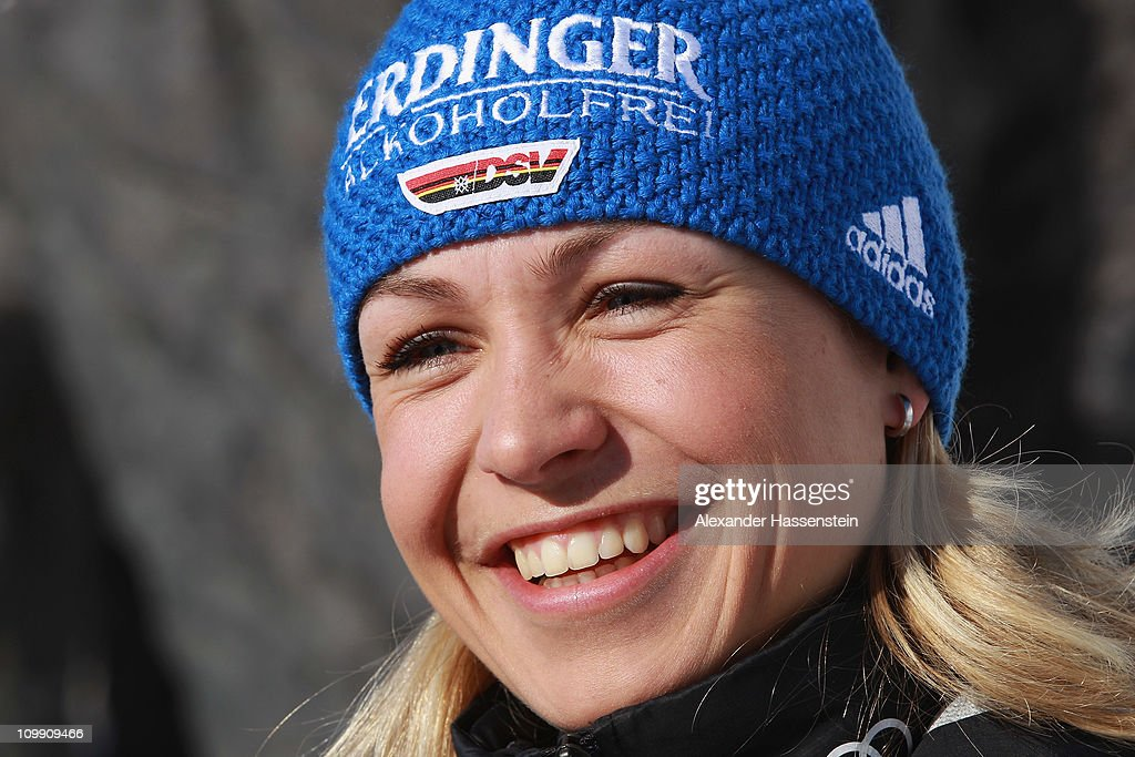 <a gi-track='captionPersonalityLinkClicked' href=/galleries/search?phrase=Magdalena+Neuner&family=editorial&specificpeople=2095093 ng-click='$event.stopPropagation()'>Magdalena Neuner</a> smiles in front of mammoth figures during a photocall of the German Biathlon Woman Team at the Archeopark on March 10, 2011 in Khanty-Mansiysk, Russia. On the territory of Archeopark are mammoth sculptural compositions, made of bronze. Mammoths lived in Ugra 70-10 thousand years ago and were members of the Pleistocene, or also called 'the mammoth fauna'. The growth figures exceed the natural factor 2-3 times.