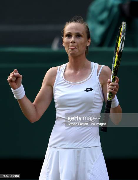 Magdalena Rybarikova celebrates beating Karolina Pliskova on day four of the Wimbledon Championships at The All England Lawn Tennis and Croquet Club...