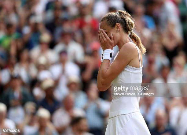 Magdalena Rybarikova celebrates victory over Karolina Pliskova on day four of the Wimbledon Championships at The All England Lawn Tennis and Croquet...