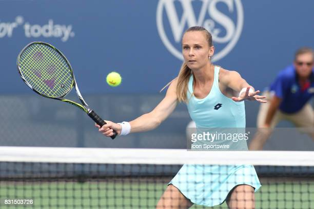 Magdalena Rybarikova hits a volley during the Western Southern Open at the Lindner Family Tennis Center in Mason Ohio on August 14 2017