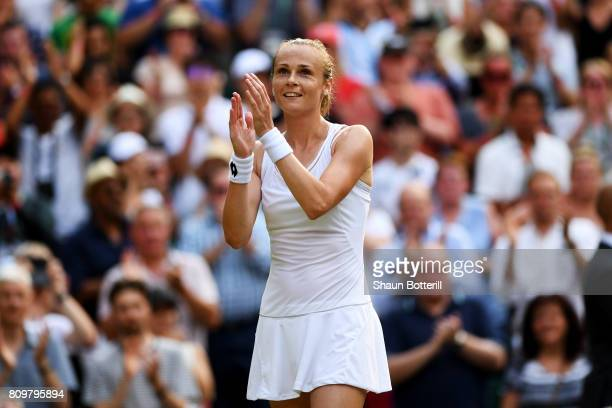Magdalena Rybarikova of Slovakia acknowledges the crowd as she celebrates victory after the Ladies Singles second round match against Kristyna...