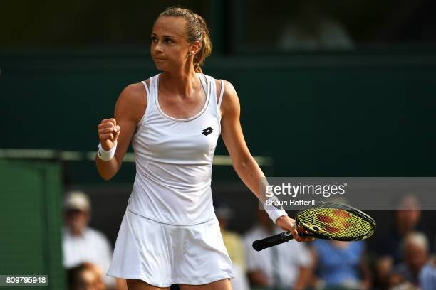 Magdalena Rybarikova of Slovakia celebrates during the Ladies Singles second round match against Kristyna Pliskova of the Czech Republic on day four...