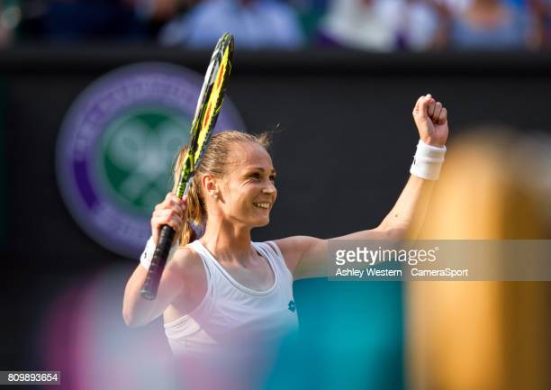Magdalena Rybarikova of Slovakia celebrates her victory against Karolina Pliskova of The Czech Republic in their Ladies' Singles Second Round Match...