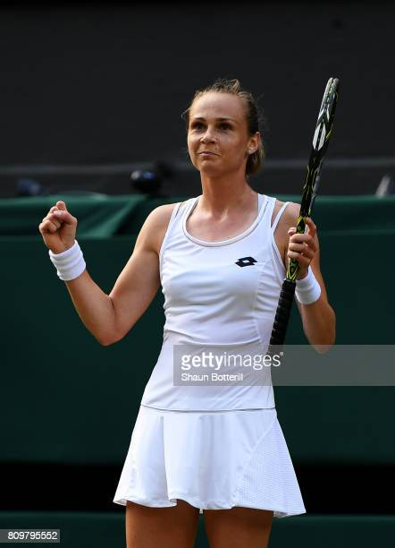 Magdalena Rybarikova of Slovakia celebrates match point and victory during the Ladies Singles second round match against Kristyna Pliskova of the...