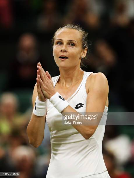 Magdalena Rybarikova of Slovakia celebrates victory after the Ladies Singles quarter final match against Coco Vandeweghe of The United States on day...