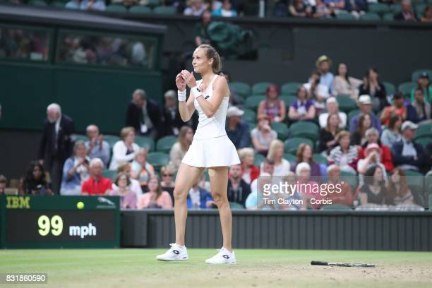 Magdalena Rybarikova of Slovakia celebrates victory against Coco Vandeweghe of the United States in the Ladies' Singles Quarter Final match on Center...
