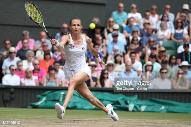 Magdalena Rybarikova of Slovakia in action against Garbine Muguruza of Spain in the Ladies Singles Semi Final match during the Wimbledon Lawn Tennis...