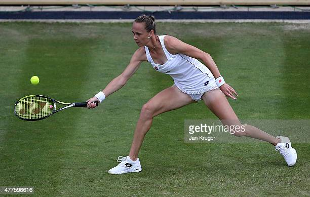 Magdalena Rybarikova of Slovakia in action against Sabine Lisicki of Germany on day four of the Aegon Classic at Edgbaston Priory Club on June 18...