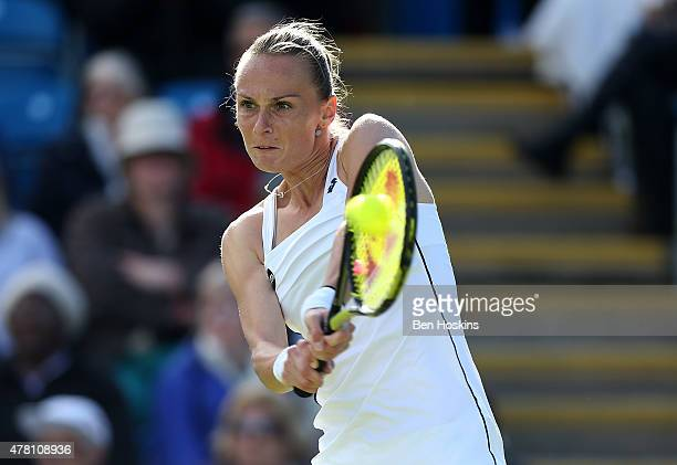 Magdalena Rybarikova of Slovakia in action during her first round match against Svetlana Kuznetsova of Russia on Day Two of the Aegon International...