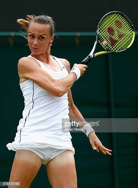 Magdalena Rybarikova of Slovakia in action during her match against Ekaterina Makarova of Russia in her Women's Singles Second Round match during day...
