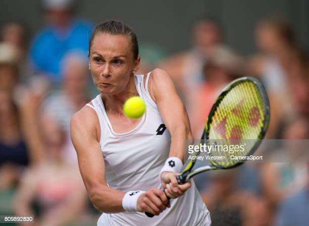 Magdalena Rybarikova of Slovakia in action during her victory over Karolina Pliskova of The Czech Republic in their Ladies' Singles Second Round...