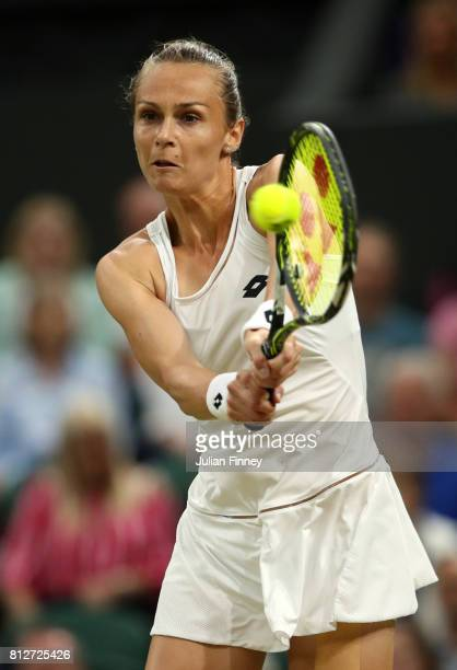 Magdalena Rybarikova of Slovakia plays a backhand during the Ladies Singles quarter final match against Coco Vandeweghe of The United States on day...
