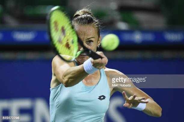 Magdalena Rybarikova of Slovakia plays a forehand against Babora Strycova of Czech Republic during day two of the Toray Pan Pacific Open Tennis At...