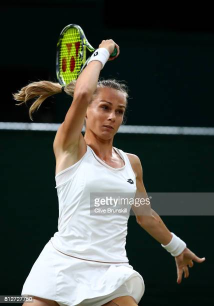 Magdalena Rybarikova of Slovakia plays a forehand during the Ladies Singles quarter final match against Coco Vandeweghe of The United States on day...