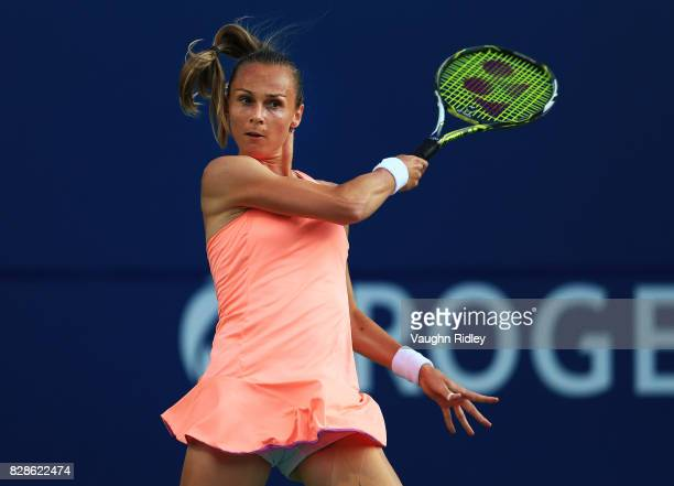 Magdalena Rybarikova of Slovakia plays a shot against Simona Halep of Romania during Day 5 of the Rogers Cup at Aviva Centre on August 9 2017 in...