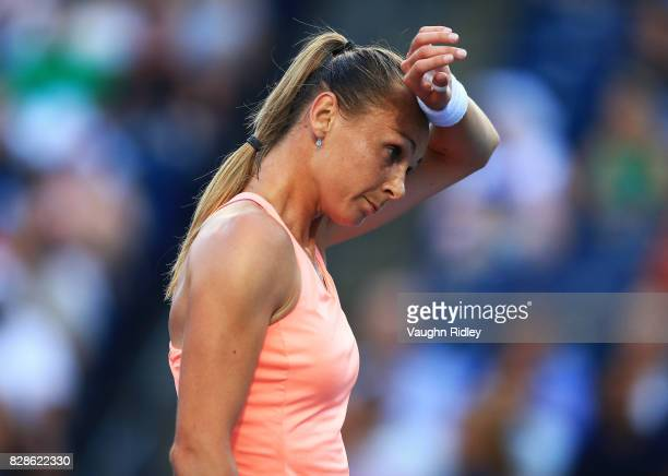 Magdalena Rybarikova of Slovakia reacts after a missed point against Simona Halep of Romania during Day 5 of the Rogers Cup at Aviva Centre on August...