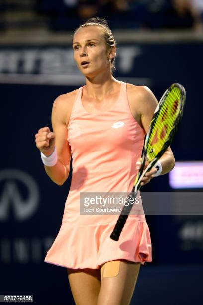 Magdalena Rybarikova of Slovakia reacts after winning a point during her second round match of the 2017 Rogers Cup tennis tournament on August 9 at...