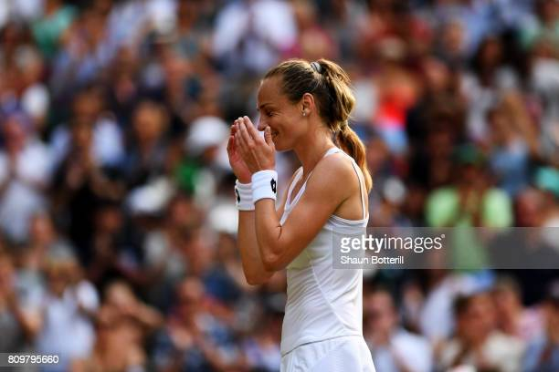 Magdalena Rybarikova of Slovakia reacts as she celebrates victory after the Ladies Singles second round match against Kristyna Pliskova of the Czech...