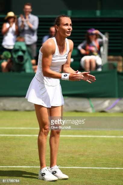 Magdalena Rybarikova of Slovakia reacts as she celebrates victory after the Ladies Singles fourth round match against Petra Martic of Croatia on day...