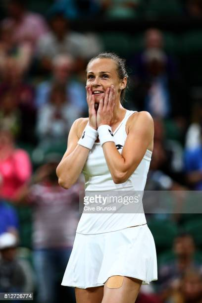 Magdalena Rybarikova of Slovakia reacts at match point and victory during the Ladies Singles quarter final match against Coco Vandeweghe of The...