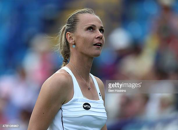 Magdalena Rybarikova of Slovakia reacts during her first round match against Svetlana Kuznetsova of Russia on Day Two of the Aegon International at...