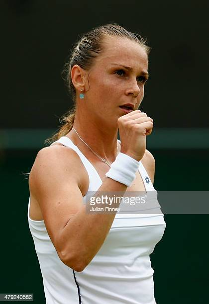 Magdalena Rybarikova of Slovakia reacts during her match against Ekaterina Makarova of Russia in her Women's Singles Second Round match during day...