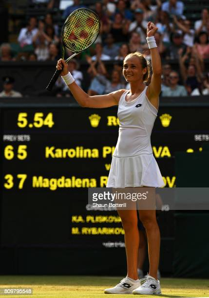 Magdalena Rybarikova of Slovakia reacts during the Ladies Singles second round match against Kristyna Pliskova of the Czech Republic on day four of...