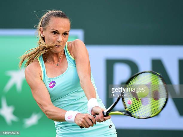 Magdalena Rybarikova of Slovakia returns a backhand in a straight set loss to Victoria Azarenka of Belarus during day eleven of the 2016 BNP Paribas...