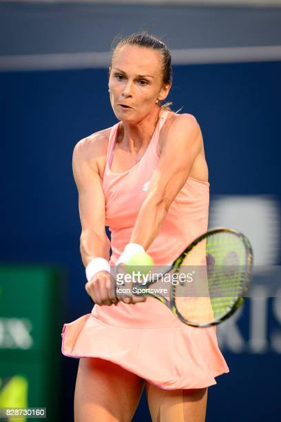 Magdalena Rybarikova of Slovakia returns the ball during her second round match of the 2017 Rogers Cup tennis tournament on August 9 at Aviva Centre...