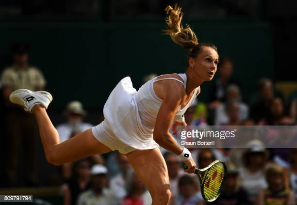 Magdalena Rybarikova of Slovakia serves during the Ladies Singles second round match against Kristyna Pliskova of the Czech Republic on day four of...