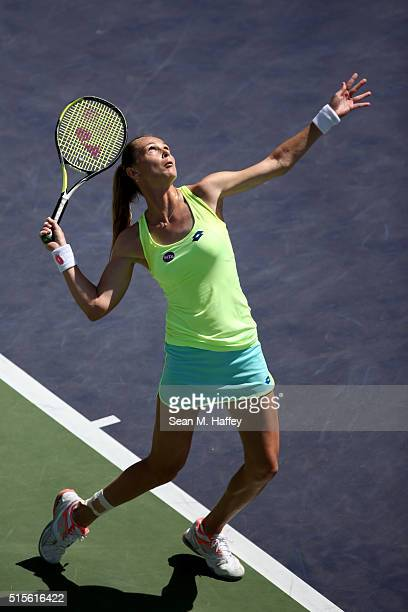 Magdalena Rybarikova of Slovakia serves to Belinda Bencic of Switzerland during the BNP Paribas Open at the Indian Wells Tennis Garden on March 11 at...