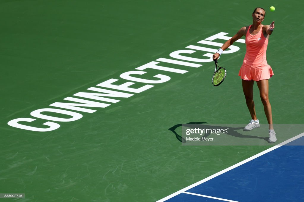 Magdalena Rybarikova of Slovakia serves to Kirsten Flipkens of Belgium during Day 3 of the Connecticut Open at Connecticut Tennis Center at Yale on August 20, 2017 in New Haven, Connecticut.