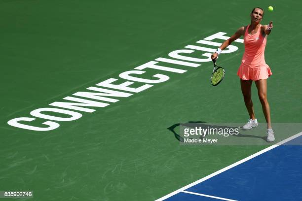 Magdalena Rybarikova of Slovakia serves to Kirsten Flipkens of Belgium during Day 3 of the Connecticut Open at Connecticut Tennis Center at Yale on...
