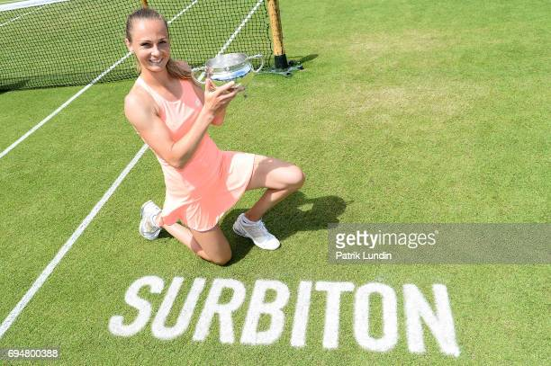 Magdalena Rybarikova of Slovakia with the trophy after victory against Heather Watson of Great Britain during the Aegon Surbiton Trophy tennis event...
