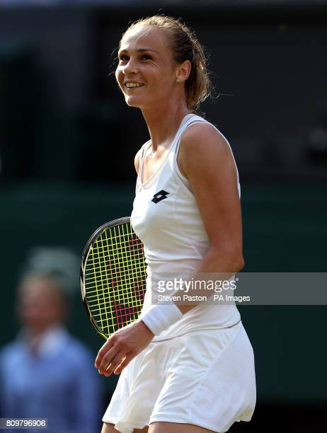 Magdalena Rybarikova on her way to victory over Karolina Pliskova on day four of the Wimbledon Championships at The All England Lawn Tennis and...