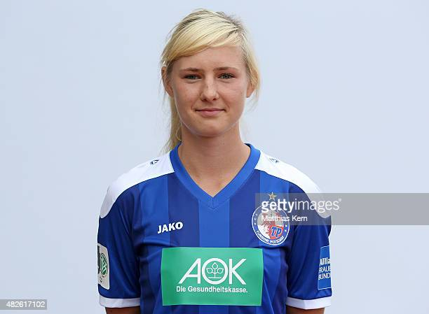 Magdalena Szaj poses during the official women's team presentation of 1FFC Turbine Potsdam at Luftschiffhafen on July 31 2015 in Potsdam Germany