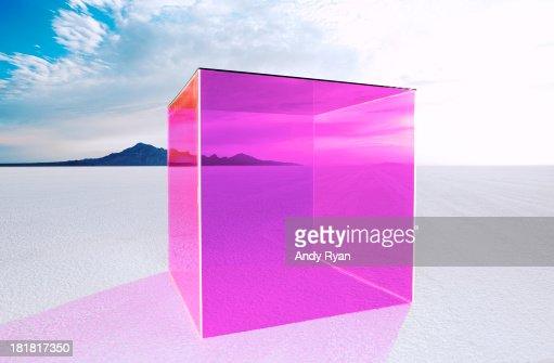 Magenta box on salt flats.