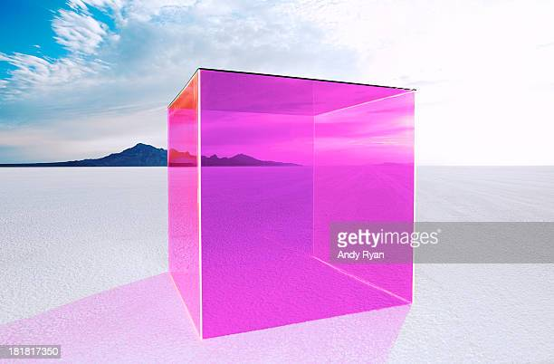 Magenta box on salt flats.