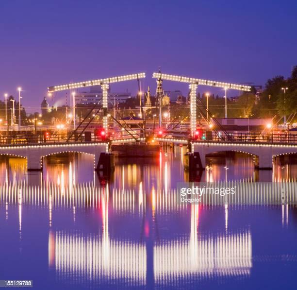Magere Brug or Skinny Bridge in Amsterdam Holland
