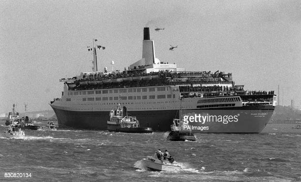 A magestic and nostalgic sight as hundreds of troops line the rails of the QE2 sailing up Southampton Water heading for the South Atlantic and her...