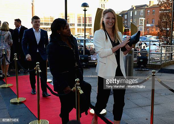 Maggie Alphonsi and Heather Moyse arrive for the World Rugby Hall of Fame Launch at the World Rugby Hall of Fame on November 17 2016 in Rugby England