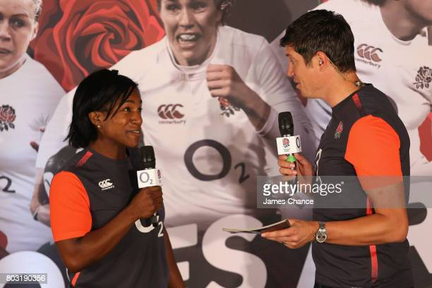 Maggie Alphonsi former England Women's Rugby player and Vernon Kay present during England Women's Rugby World Cup Squad Announcement at Twickenham...