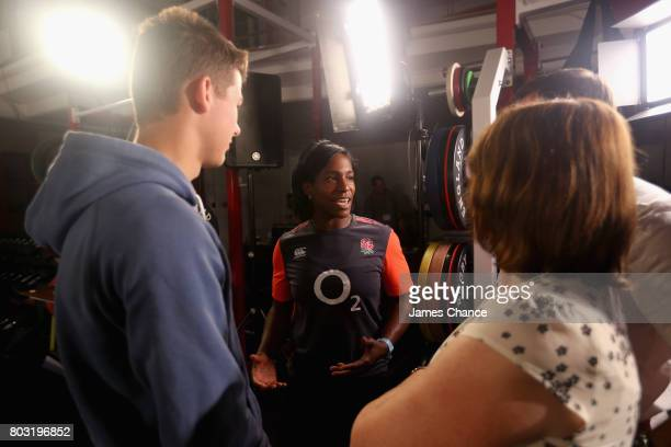 Maggie Alphonsi former England Women's Rugby player speaks to fans after England Women's Rugby World Cup Squad Announcement at Twickenham Stadium on...