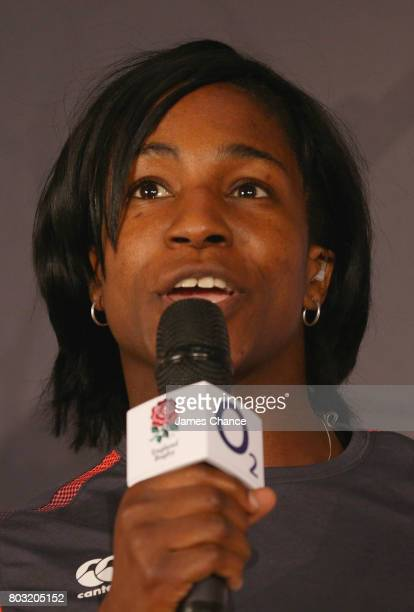 Maggie Alphonsi former England Women's Rugby player speaks to the audience during England Women's Rugby World Cup Squad Announcement at Twickenham...