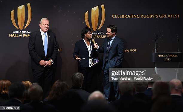 Maggie Alphonsi is interviewed by Seb Lauzier at the Induction ceremony during the World Rugby Hall of Fame Launch at the World Rugby Hall of Fame on...