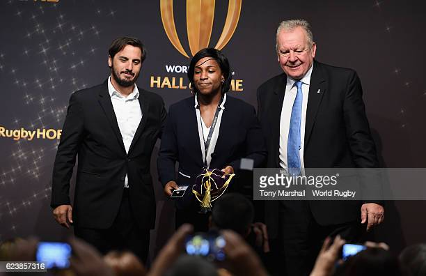 Maggie Alphonsi is presented with her cap and pin by Gus Pichot World Rugby ViceChairman and Bill Beaumont World Rugby Chairman at the Induction...