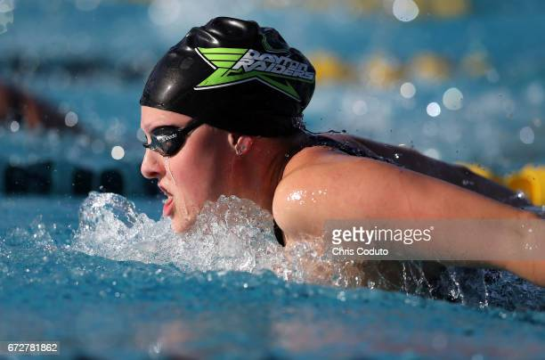 Maggie Berning competes in the finals of the women's 200 meter butterfly on day three of the Arena Pro Swim Series Mesa at Skyline Aquatic Center on...