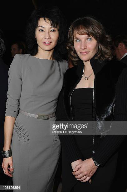 Maggie Cheung and Helene Grimaud attend the Hotel Mandarin Oriental Inauguration at Hotel Mandarin Oriental on September 22 2011 in Paris France